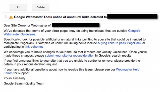 mesaj penalizare google