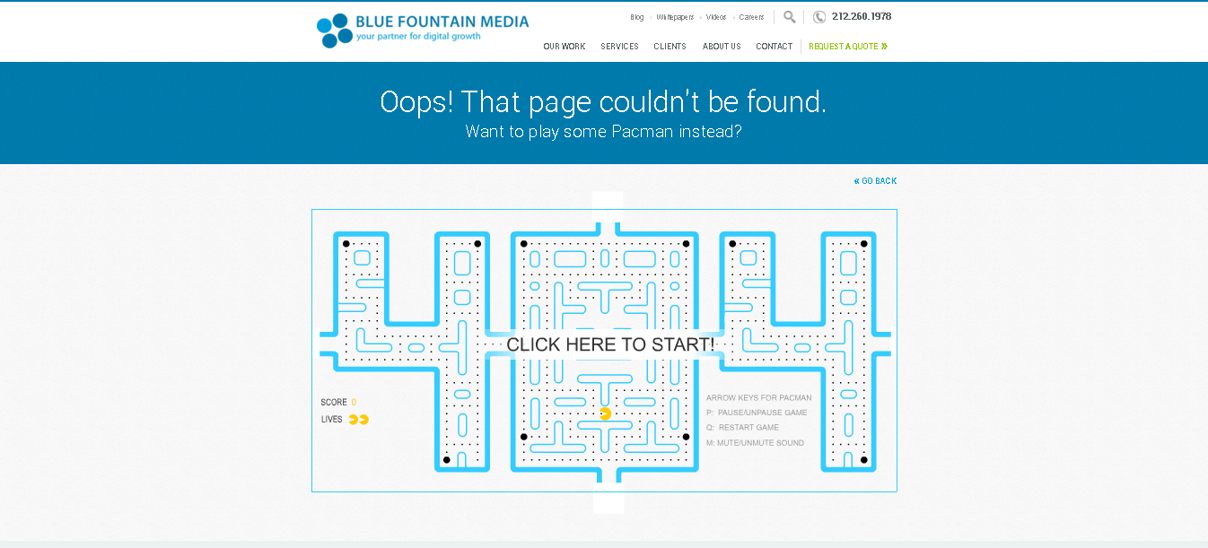 eroare 404 Blue Fountain Media