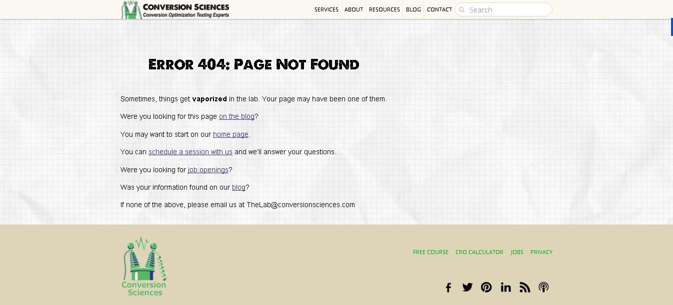 eroare 404 conversion sciences