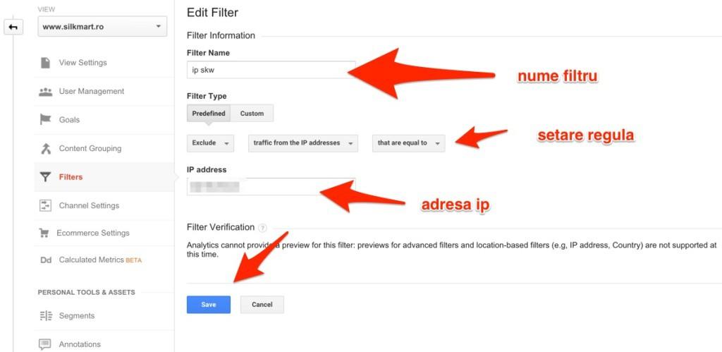 filtrare ip analytics