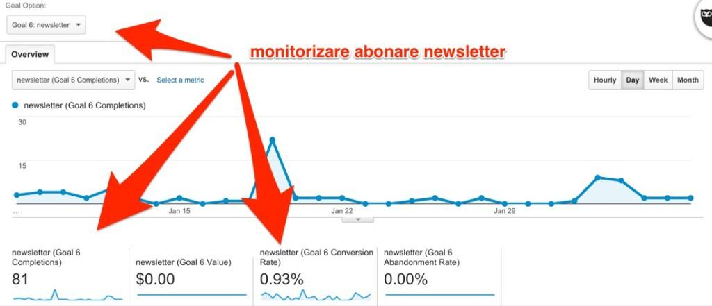 monitorizare abonare newsletter