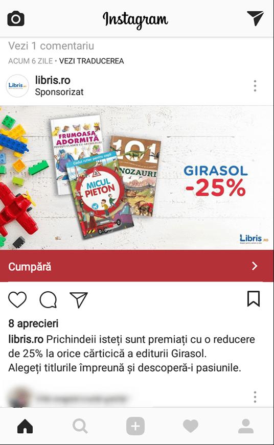reclama instagram libris audienta parinti