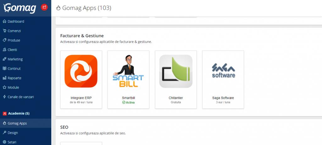 aplicatii facturare si gestiune in platforma gomag