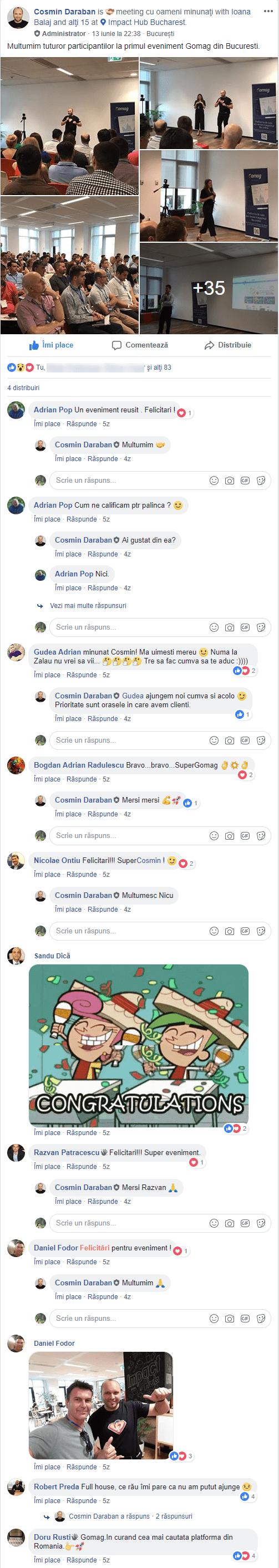 reactii gomag meetup bucuresti