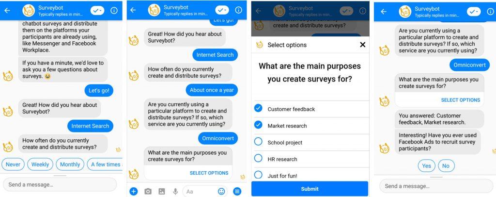 chatbotii pentru chestionare