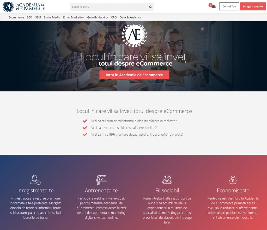 pagina inregistrare academia de ecommerce