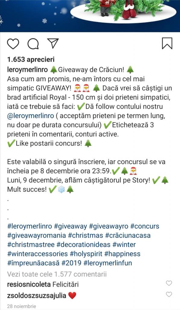 concurs giveaway instagram romania