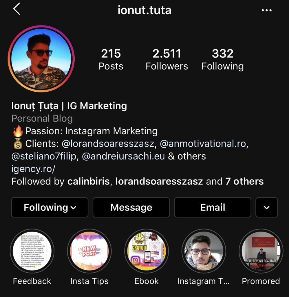 ionut tuta - specialist instagram