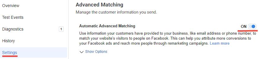 facebook matching