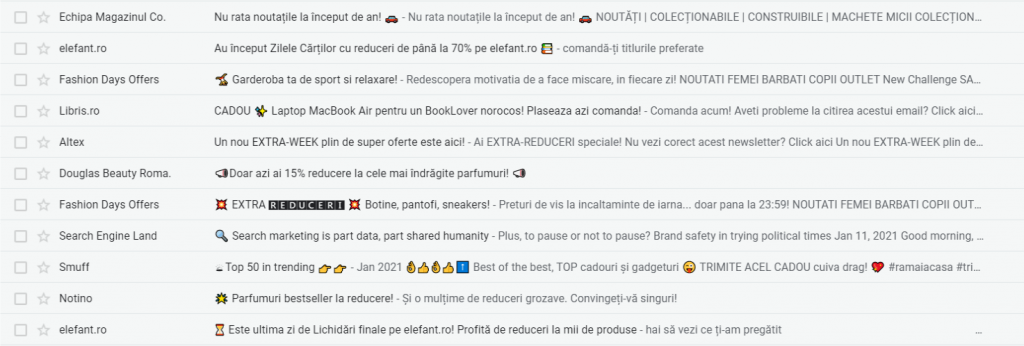 vinzi pe email cu emoticoane